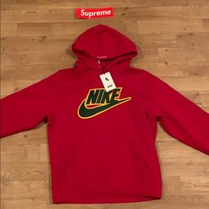 Supreme®/Nike® Leather Appliqué Hooded Sweatshirt